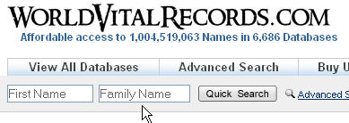 World Vital Records Search Box